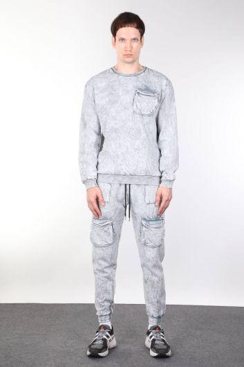 Crew Neck Men's Sweatshirt with Pockets - Thumbnail