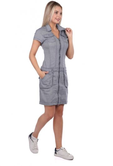 Banny Jeans - Collared Zippered Gray Jean Dress (1)