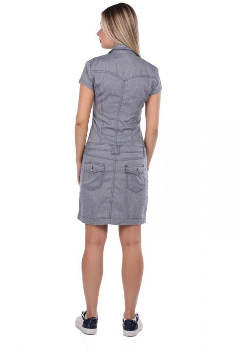 Collared Zippered Gray Jean Dress