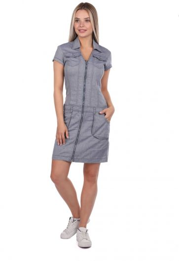 Collared Zippered Gray Jean Dress - Thumbnail