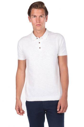 Collar Detailed White Polo Neck T-Shirt - Thumbnail