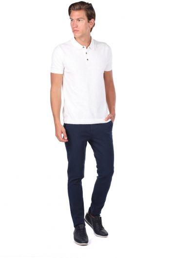 Белая футболка с воротником-поло с детализированным воротником - Thumbnail