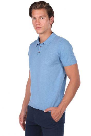 Collar Detailed Polo Neck T-Shirt - Thumbnail