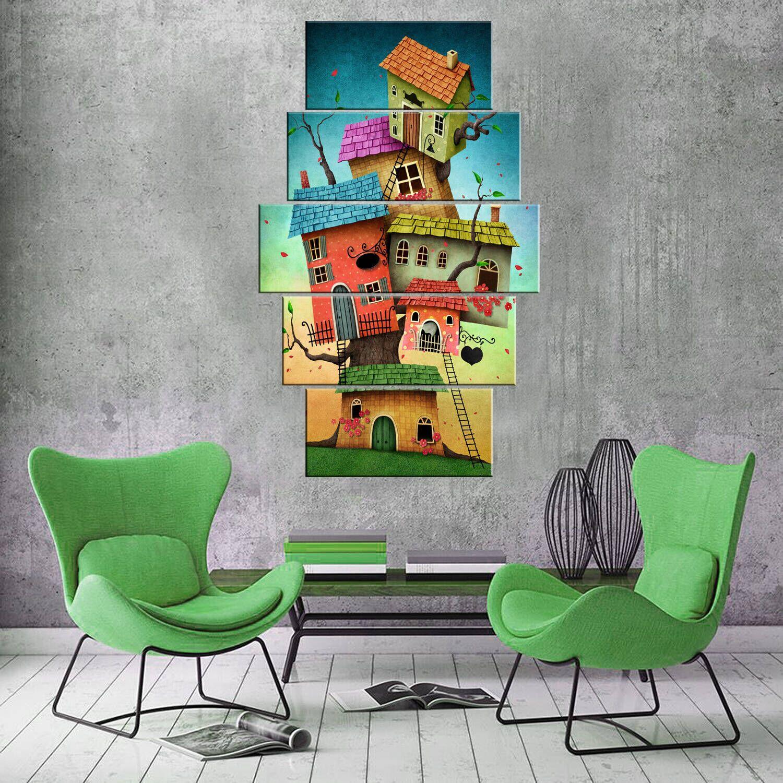 Разноцветные дома 5 шт Mdf Painting