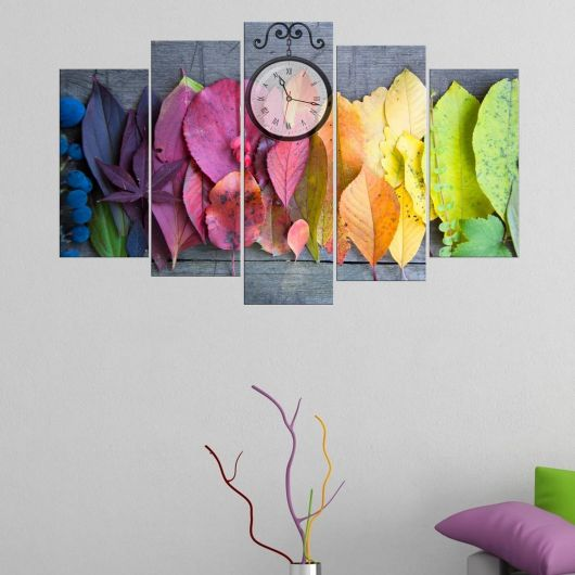 Colored Leaves 5 Pieces Mdf Clock Table - Thumbnail