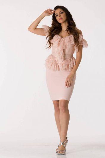 shecca - Розовый вечерний костюм из тюля с тонкими бретелями (1)