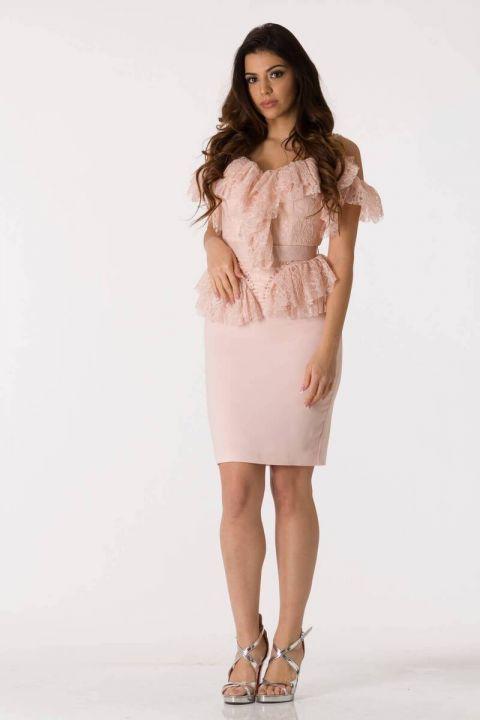 وردي حزام رقيق تول فستان سهرة البدلة