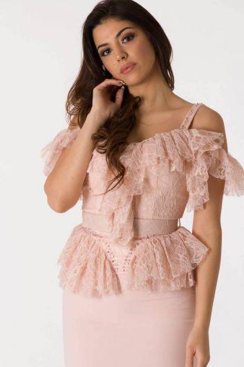 Розовый вечерний костюм из тюля с тонкими бретелями - Thumbnail