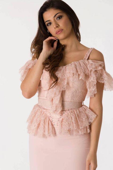 Розовый вечерний костюм из тюля с тонкими бретелями