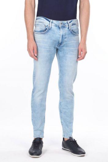 Comfort Mavi Dar Paça Jean Erkek Pantolon - Thumbnail
