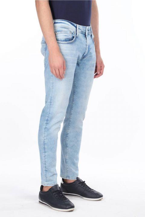 Comfort Mavi Dar Paça Jean Erkek Pantolon