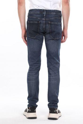Comfort Navy Blue Jean Men's Trousers - Thumbnail