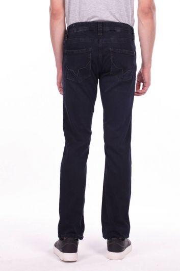 Comfort Navy Blue Straight Cut Jean Men's Trousers - Thumbnail