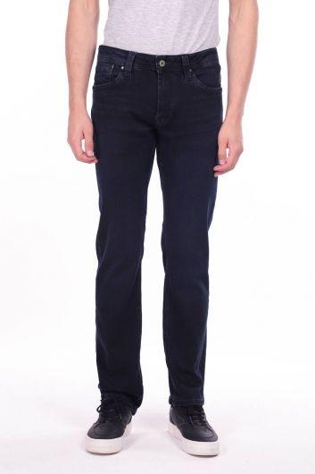 Комфортные темно-синие мужские брюки прямого кроя с джинсами - Thumbnail
