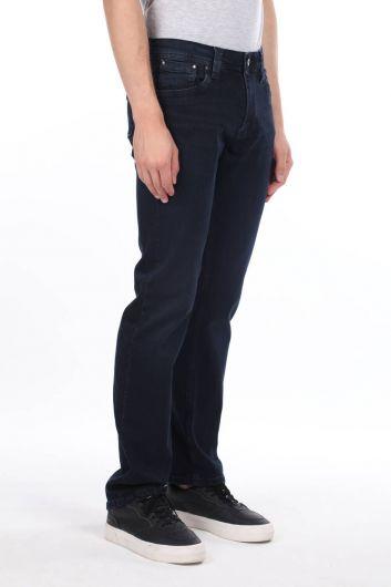 MARKAPIA MAN - Комфортные темно-синие мужские брюки прямого кроя с джинсами (1)
