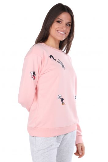 Cartoon Character Embroidered Pink Women's Sweatshirt - Thumbnail