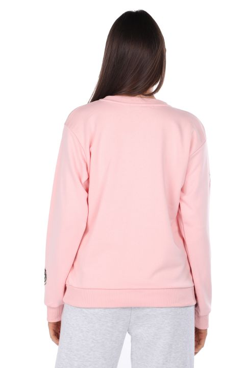 Cartoon Character Embroidered Pink Women's Sweatshirt