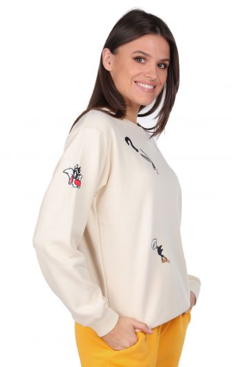 MARKAPIA WOMAN - Cartoon Character Embroidered Ecru Women Sweatshirt (1)