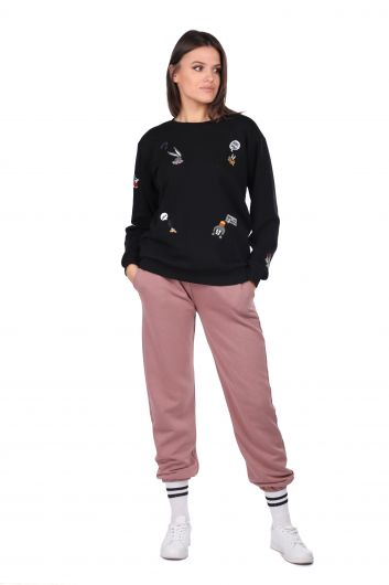 Cartoon Character Embroidered Black Women's Sweatshirt - Thumbnail