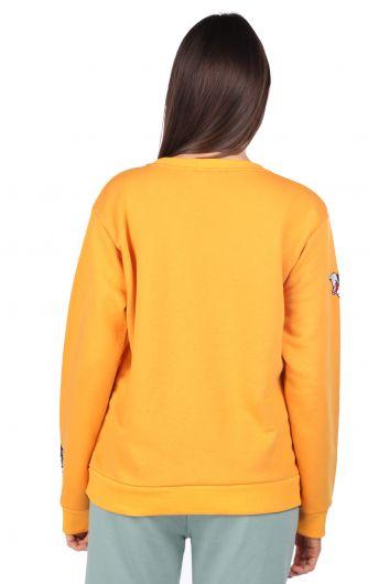 سويت شيرت أصفر مطرز بطبعة كرتونية للنساء - Thumbnail