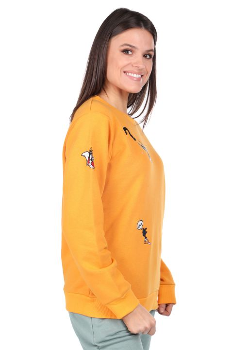 Cartoon Character Embroidered Yellow Women's Sweatshirt