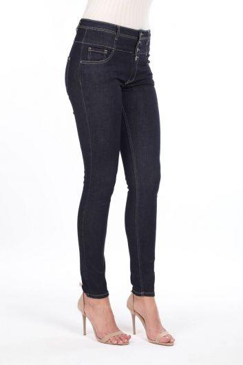Джинсовые брюки Skınny Corsage с высокой талией - Thumbnail