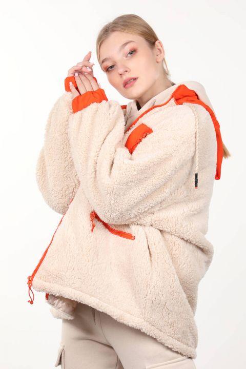 Cream-Lined Pocket Detailed Plush Oversized Women's Coat