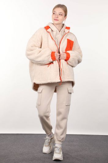 Cream-Lined Pocket Detailed Plush Oversized Women's Coat - Thumbnail