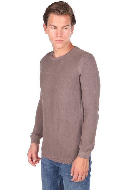 Crew Neck Brown Men's Sweater