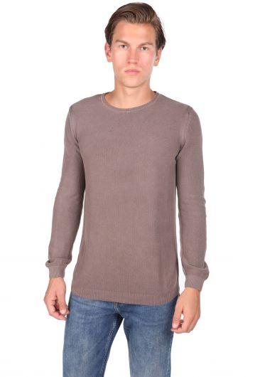 Коричневый мужской свитер с круглым вырезом - Thumbnail