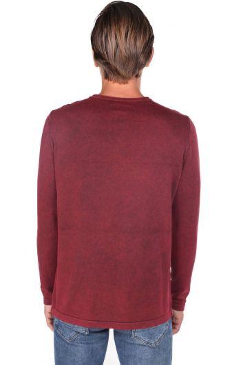 قميص من النوع الثقيل بياقة مستديرة وأزرار للرجال - Thumbnail