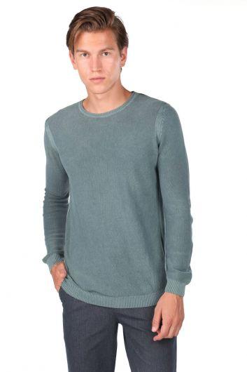 Green Men's Crew Neck Knitwear Sweater - Thumbnail