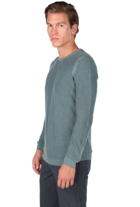 Green Men's Crew Neck Knitwear Sweater