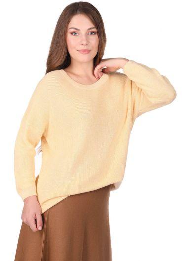 MARKAPIA WOMAN - سترة تريكو نسائية صفراء طاقم الرقبة (1)