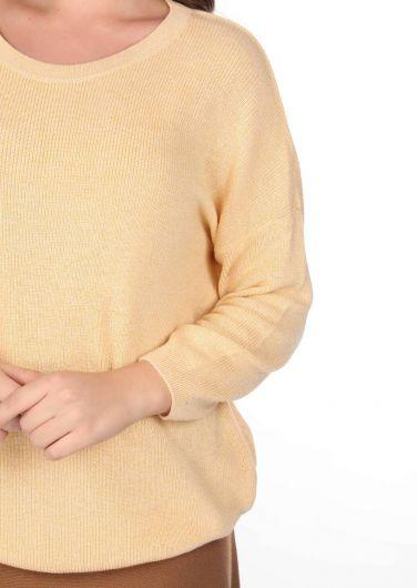 سترة تريكو نسائية صفراء طاقم الرقبة - Thumbnail