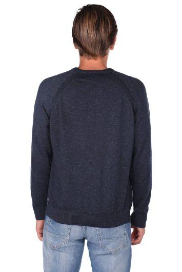 Трикотажный мужской свитер с круглым вырезом - Thumbnail