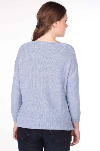 Crew Neck Knitwear Women Sweater - Thumbnail