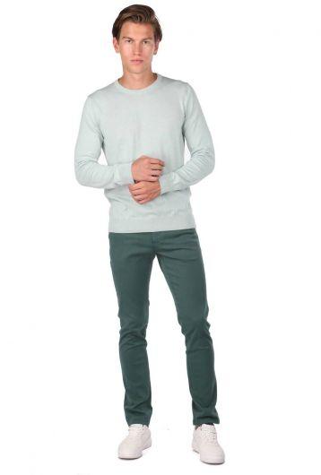 Crew Neck Light Green Men's Sweater - Thumbnail