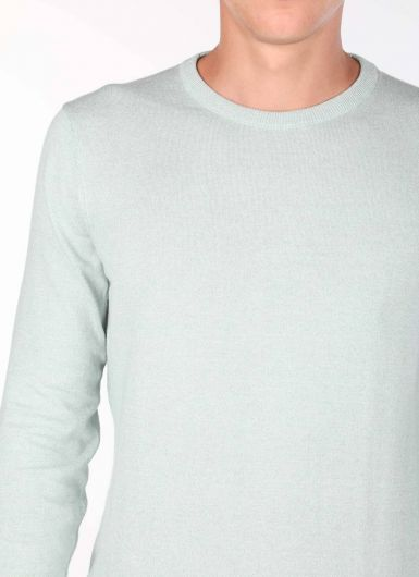 Светло-зеленый мужской свитер с круглым вырезом - Thumbnail