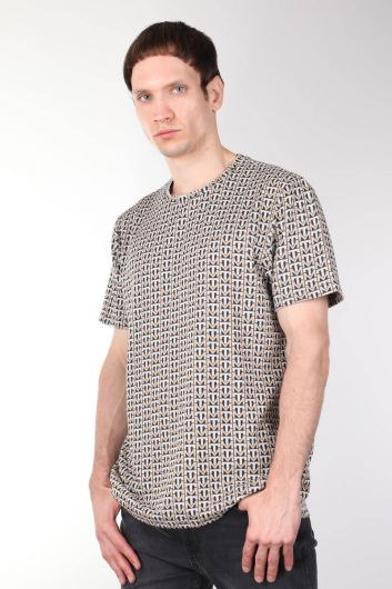 Crew Neck Pattern Thick Men's T-shirt - Thumbnail