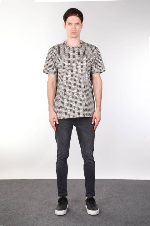 Crew Neck Pattern Thick Men's T-shirt
