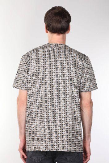Толстая мужская футболка с круглым вырезом и узором - Thumbnail