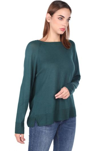 MARKAPIA WOMAN - Green Crew Neck Thin Knitwear Women Sweater (1)