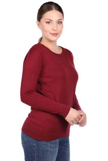 Бордовый женский свитер из тонкого трикотажа с круглым вырезом - Thumbnail