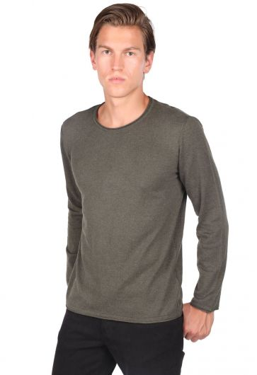 Slim Khaki Men's Crew Neck Knitwear Sweater - Thumbnail