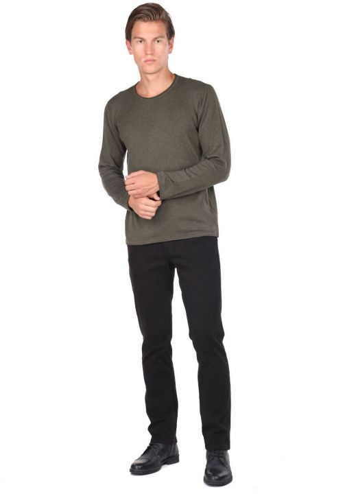 Slim Khaki Men's Crew Neck Knitwear Sweater
