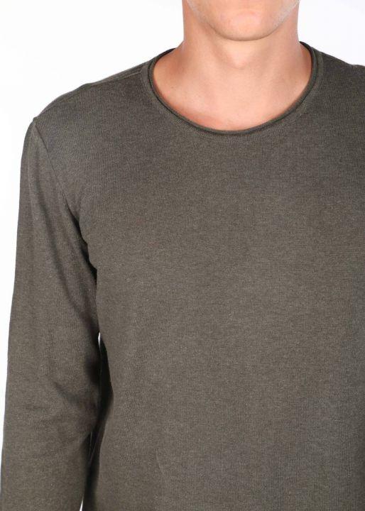Slim Khaki Men's Crew Neck Knitwear Sweater