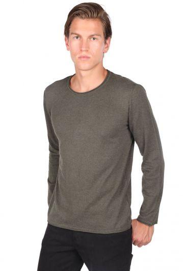 Узкий мужской трикотажный свитер цвета хаки с круглым вырезом - Thumbnail