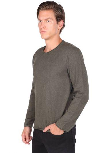 MARKAPIA MAN - Узкий мужской трикотажный свитер цвета хаки с круглым вырезом (1)