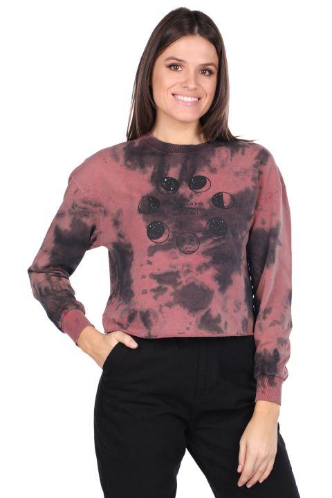 Crop Batik Kadın Sweatshirt